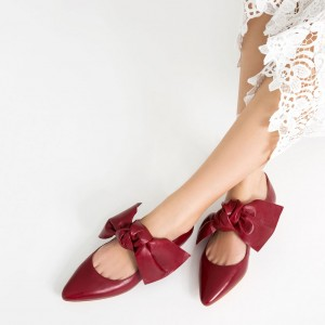 Women's Red Bow Pointed Toe Comfortable Flats Shoes
