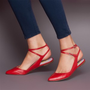 Women's Red Flats Ankle Strap Pointed Toe Slingback Shoes