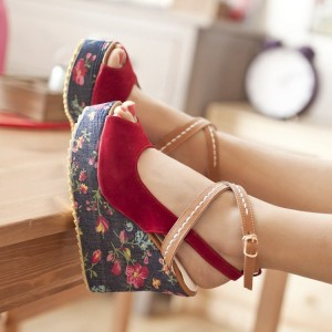 Red Floral Heels Peep Toe Crisscross Strap Slingback Heeled Wedges