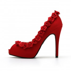 Women's Red Peep Toe Heels Bridal Suede Platform Pumps With Flower