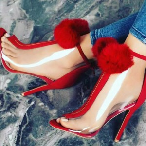 Red Peep Toe Clear Heels Fluffy Ball Stiletto Heels Summer Boots