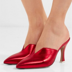 Women's Red Pointed Toe Mule Heels Spool Heel Shoes