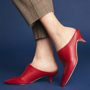 Women's Red Pointy Toe Kitten Heels Mules