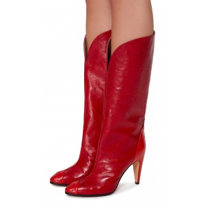 Women's Red Python Vegan Leather Western Boots Cone Heels Knee Boots