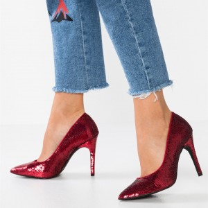 Burgundy Sequined Stiletto Heels Open Toe Office Shoes
