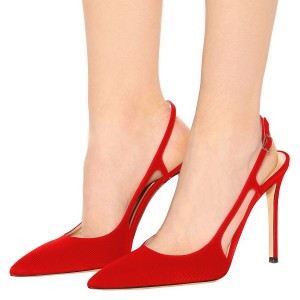 Women's Red Slingback Heels Stripes Buckle Pumps