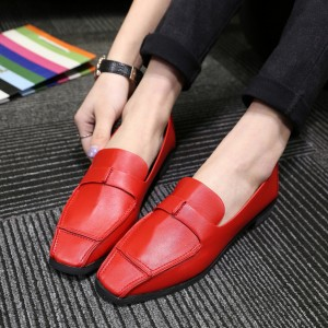 Red Square Toe Vintage Flat Shoes Retro Loafers for Women