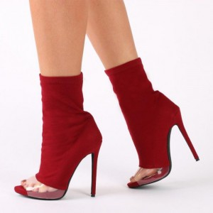 Red Peep Toe Booties PVC Stiletto Heel Ankle Boots for Women
