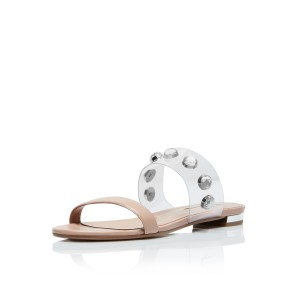 Nude Women's Slide Sandals Open Toe Rhinestone Summer Slides Shoes