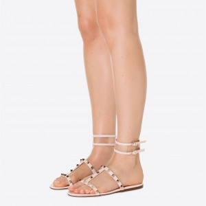 Women's Rivets Double Ankle Straps Gladiator Sandals