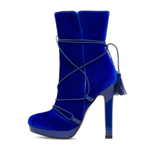 Royal Blue Velvet Boots Closed Toe Platform Strappy Ankle Boots