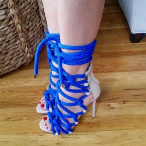 Royal Blue Peep Toe Stiletto Heels Strappy Lace Up Gladiator Sandals