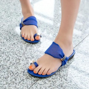 Women's Royal Blue Summer Sandals Comfortable Flat Flip Flops