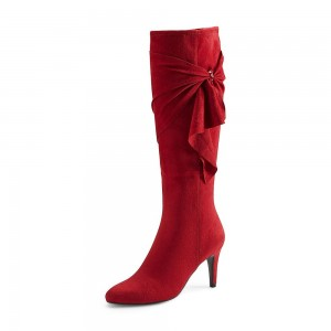 Red Heeled Boots Bow Suede Low Heel Knee High Boots