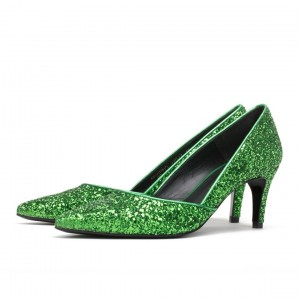 Women's Sequined Green Kitten Heels Pointy Toe Pumps