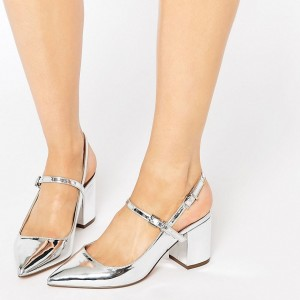 Silver Pointy Toe Mirror Leather Block Heels Slingback Pumps
