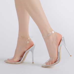 Women's Silver Clear Stiletto Heels Closed Toe Ankle Strap Slingback Sandals
