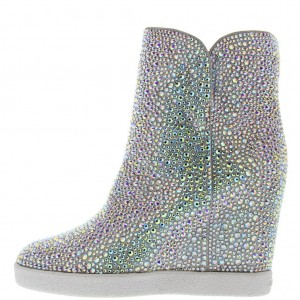 Women's Silver Fashion Boots Wedge Heels Sparkly Ankle Boots