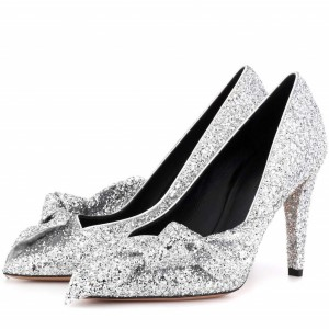 Women's Silver Glitter Shoes Cone Heel Pumps with Bow