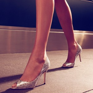 Silver Sparkly Heels Prom Shoes Peep Toe Stiletto Heel Pumps