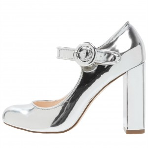 Women's Silver Mary Jane Pumps Chunky Heels Office Shoes