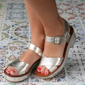 Women's Silver Open Toe Ankle Buckle Wedge Heels Sandals