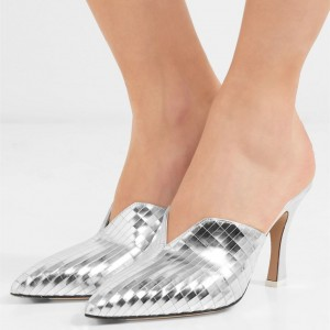 Women's Silver Pointed Toe Mule Heels Spool Heel Shoes