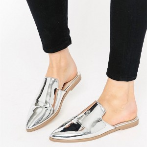Women's Silver Pointy Toe School Shoes Comfortable Mules Sandal Flats