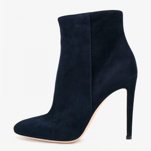 Women's Suede 4 Inch Heels Black Stiletto Heels Pointy Toe Ankle Boots