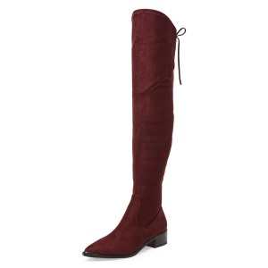 Women's Suede Maroon Chunky Heel Boots Pointy Toe Thigh-high Boots