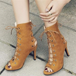 Women's Tan Boots Suede Lace up Boots Slingback Heels Ankle Booties