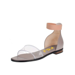Grey and Clear Flat Sandals Open Toe Ankle Strap Sandals