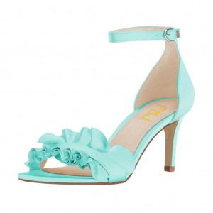 Women's Cyan Ruffle Stiletto Heel Ankle Strap Sandals