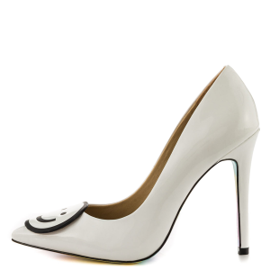 Women's White Smiley Stiletto Heels Pointy Toe Office Heels