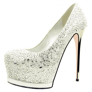 Women's White  Almond Toe Platform Glitter Rhinestone Stiletto Heel Pumps Bridal Heels