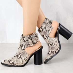 Fashion Snakeskin Booties Pointy Toe Cylindrical Heel Slingback Shoes
