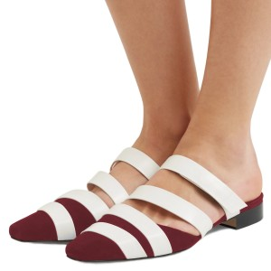 Women's White and Maroon Comfortable Flats Strappy Mule Sandals