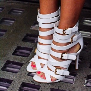 Women's White Buckles Stiletto Heels Strappy Sandals Sexy Shoes
