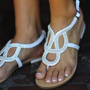 Women's White Comfortable Flats Rhinestone Sandals