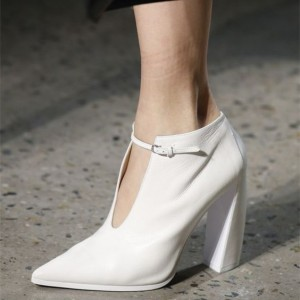 Women's White Commuting Pointy Toe Block Heel Vintage Shoes