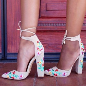 Women's White Floral Embroidered Ankle Strappy Chunky Heels Pumps