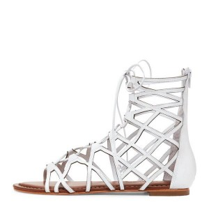 d697158a563 Women s White Gladiator Sandals Hollow out Lace up Flats Size US 4-15 ...