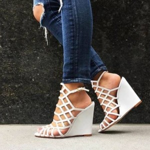 White Wedge Sandals Peep Toe Slingback Laser Cut Cage Sandals