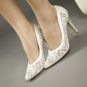 White Bridal Shoes Lace Heels Wedding Pumps