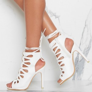 Women's White Lace Up Sandals Hollow-Out Stiletto Heels