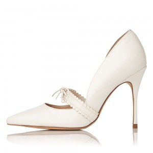 Women's White Mary Jane Pumps Pointy Toe Stiletto Heels Office Shoes