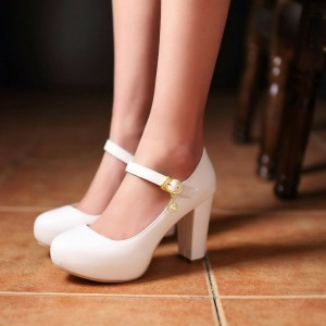 Women's White Mary Jane Shoes Patent Leather Chunky Heels Pumps