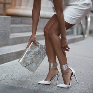 Women's White Metallic Ankle Strap Heels Elegant Stiletto Pumps