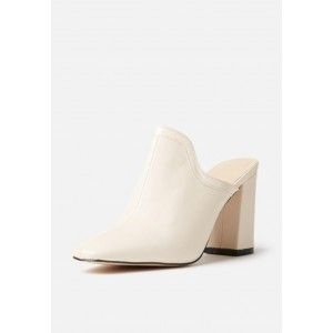 Women's Ivory Chunky Heel Sandals Round Toe Mule Summer Sandals