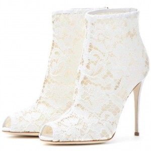 White Bridal Shoes Peep Toe Stiletto Heel Lace Wedding Ankle Booties
